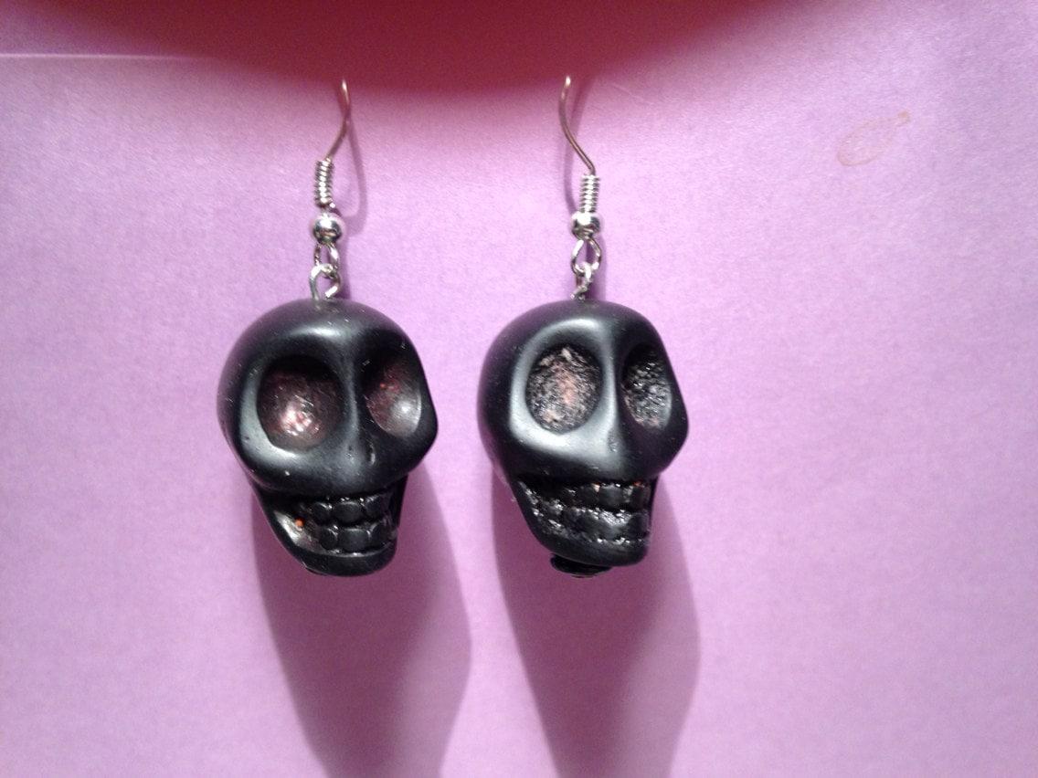 black skull earring