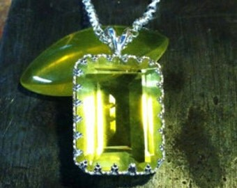 32.5 ct Yellow Topaz Necklace - 32.5 Carat  Rectangular Cut Natural Gem - Sterling Silver Crown Bezel - Hand Forged