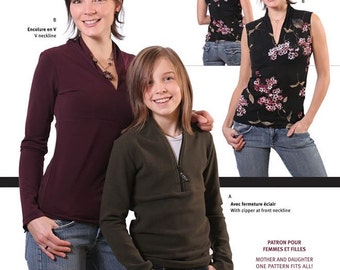 Jalie Stylish V-Neck Top Sewing Pattern # 2682 in 27 Sizes Women & Girls - Great for Mother and Daughter