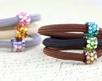 Hair tie, rope band ponytail holder with Swarovski elements crystals, brown rubber band, elastic hair tie
