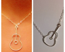 Sterling Silver Guitar Necklace