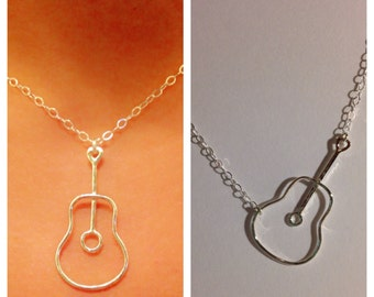 Silver Guitar Necklace, Sterling Silver Guitar Necklace, Sterling Silver Musician Necklace, Sterling Silver Music Lover Necklace