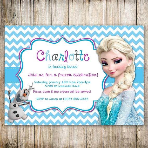 Disney FROZEN Chevron Birthday Invitation, Frozen Birthday, FROZEN ...