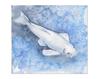 koi carp fish original watercolor blue painting size 6.3″ x 5.71″ in