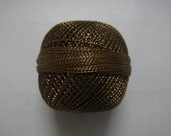 Brown with Golden Lurex - 20 gm Lurex Cotton Yarn / Thread for Crochet / Embroidery / Knitting