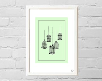 Birdcages and Little Bird in Green Illustration Print