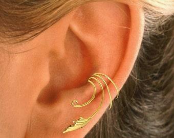 Non-Pierced Delicate Leaf Ear Cuff, Ear Wrap in Sterling or Gold Vermeil by Sandra Callisto #CQ-LF-ea
