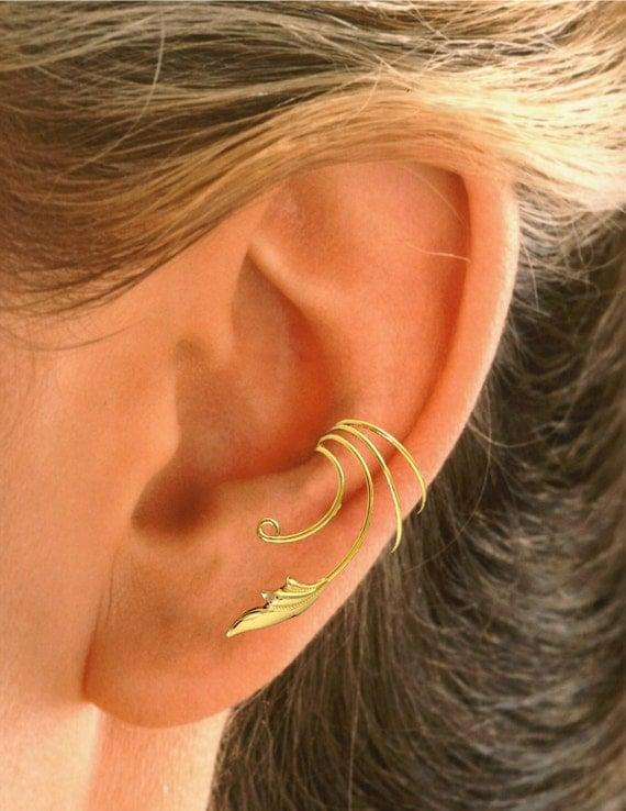Non Pierced Delicate Leaf Ear Cuff Ear Wrap In Sterling Or
