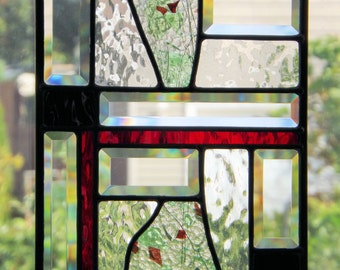 Stained Glass Panel  Abstract Red Confetti Black Geometric Design Clear Textured Glass