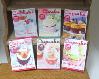 dollhouse magazine cooking cupcake  x 6 for display 12th scale miniature lakeland artist
