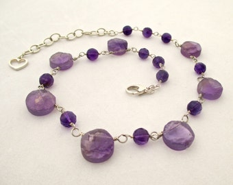 SALE - Amethyst Raw FInish Wire Wrapped Sterling SIlver Necklace