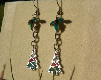 Stained Glass Christmas Trees with Holly Leaf Earrings  - Red - Green