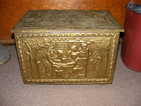 Antique Coal Tinder Box Fireplace Embossed Brass By