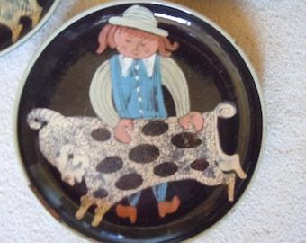 Zahner Swiss Wall Plates Mid Century Whimsical Plates Set
