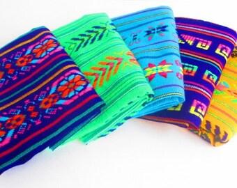 Mexican fabric, Aztec fabric, Mexican Fabric, Bundle tribal fabric by half yards, Embroidered, Fiesta decoration,Wedding decor,Cinco de Mayo