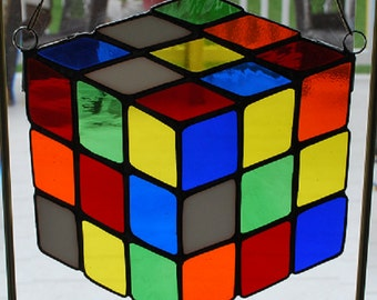 Stained glass multi colored cube