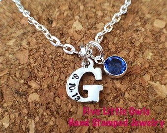 Mothers day gift Hand Stamped Sterling Silver Charm Necklace with date