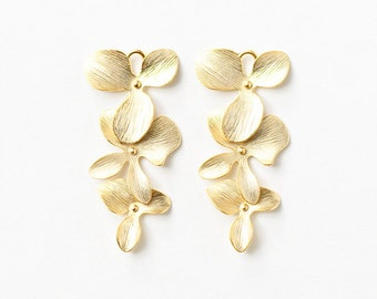 3051004 / 3 Linked Flowers Set / 16k Matt Gold Plated Brass Connector 16mm x 34mm / 1.8g / 2pcs