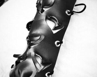Black Leather Raven Bracers