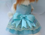 """Teal & Yellow Embroidered Tulle Lace DOG Dress Wedding Ready To Ship Now Size XXSMALL Girth 11"""" SALE"""