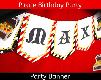 FREE SHIPPING Pirate Party Banner   Pirate Birthday Banner