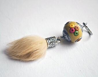 Hippie Keychain // Natural Fur Ball // Indonesian Bead // Yellow Purse Decoration // Tassel Keychain