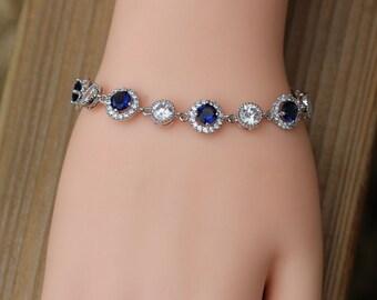 silver sapphire bracelet , blue cz bracelet , bridesmaid bracelet , blue bracelet