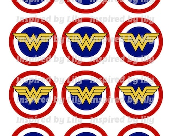 INSTANT DOWNLOAD Wonder Woman cupcake toppers, Wonder Woman party, Wonder Woman theme birthday