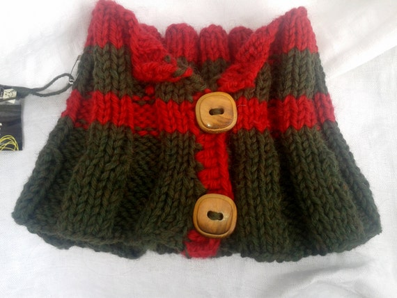 Khaki & Red Cowl Natural French Green Neck Warmer Handmade Warm Wool Scarf Winter Hand Knitted Wood Buttons #SophieLadyDeParis