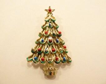 Beautiful Vintage Rhinestone Figural Tree Brooch / Pin C-19