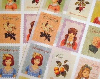 Retro Postage Stamp Stickers - Lovely Girls Petit Scrapbooking Stationery Set