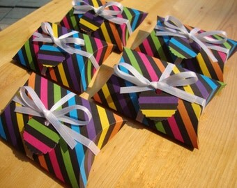 SALE - Rainbow Striped Pillow Boxes - Qty: 10 - Party Favors - Treat Boxes - Gift Boxes