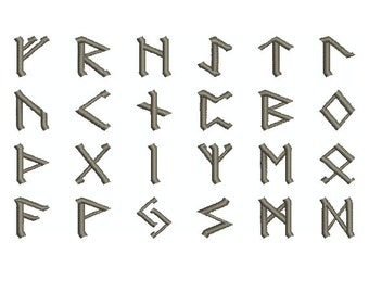 "Machine Embroidery Design Collection Instant Download - ""Rune 1"" Norse Nordic Elder Futhark Alphabet Font"