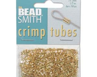 2mm Gold Plated Crimp Tube Beads, 1/2 oz (400 Pcs), Findings, Supplies, Beadsmith