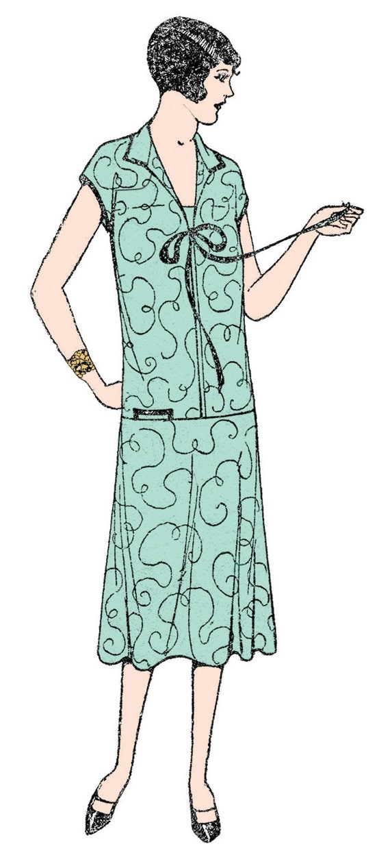 1920s Patterns – Vintage, Reproduction Sewing Patterns 1920s Ladies Long Waisted Dress - Reproduction Sewing Pattern #Z7057 $15.50 AT vintagedancer.com