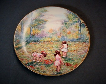 Picking Flowers Collector's Plate 1977 Dominic Mingolla Little Girls Picking Flowers