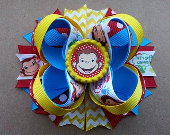 Curious George Inspired Boutique Layered Hair Bow -Curious George Birthday Hair Bow