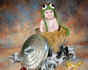 Oscar the Grouch Hat Crochet Pattern, Sesame Street, Baby Hat,Toboggan, gifts, Beanie, Crochet, Kids, Toddler, Child, Oscar Costume, Toque