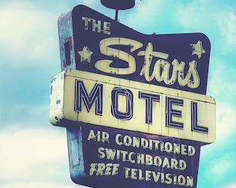 Chicago Photography, The Stars Motel, Midcentury Modern Decor, Fine Art Photo Vintage Sign Lincoln Avenue, Urban Landscape Northwest Chicago