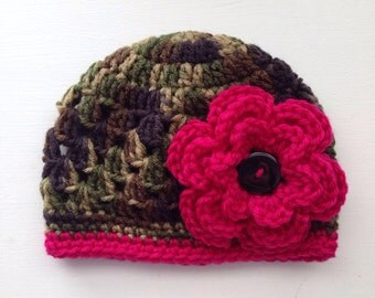 Camouflage Baby Girl Flowered Hat / Toddler Hat / Photo Prop / Sizes Newborn - 5 Years **MADE TO ORDER**
