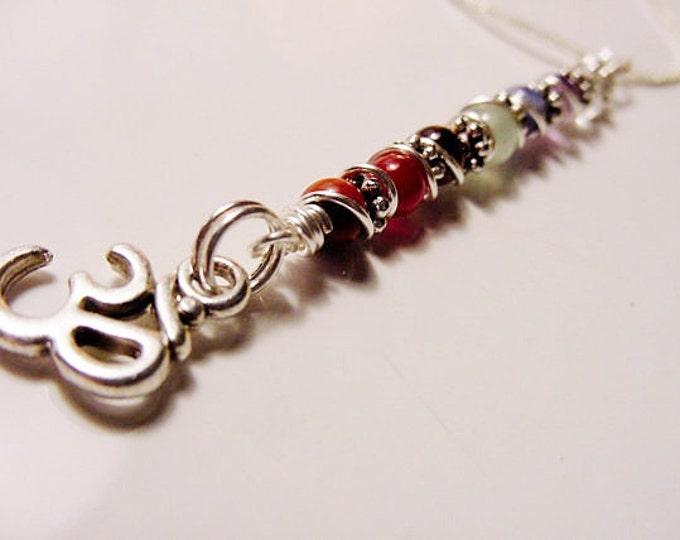 OM symbol 7 Chakra Pendant, Spiral Necklace Gemstones, Balance, Harmonize Energy Centers, Chakra Jewelry, Reiki Jewelry, FREE SHIPPING,