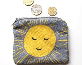 Happy Sun purse - French print fabric