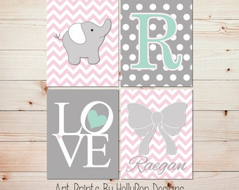 Girl nursery art Pink gray nursery decor Baby girl wall art Nursery wall prints Elephant nursery decor Custom nursery decor Baby art 0886