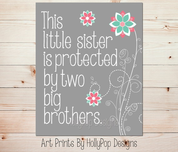 This Little Sister Print Pink Mint Wall Art Sister Brother