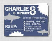 Shark Birthday Party Invitation - Shark Attack Theme Birthday - Boy Pool Party - Digital Design or Printed Invitations - FREE SHIPPING