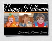 Happy Halloween Scrolled Photo Card - Halloween Family Greeting - Happy Halloween Card - Digital Design