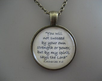Scripture Necklace Bible Verse Zahariah 4:6 You Will Not Succeed By Your Own Strength