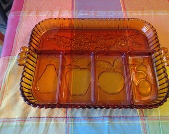 On Sale Collectible Glass Gold Carnival Glass Divided Serving Platter