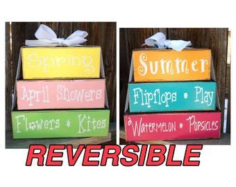 REVERSIBLE Spring and Summer wood stacker blocks
