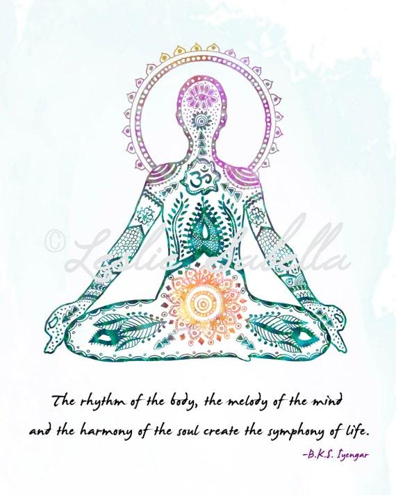 Yoga Art Print Lotus by LeslieSabella on Etsy